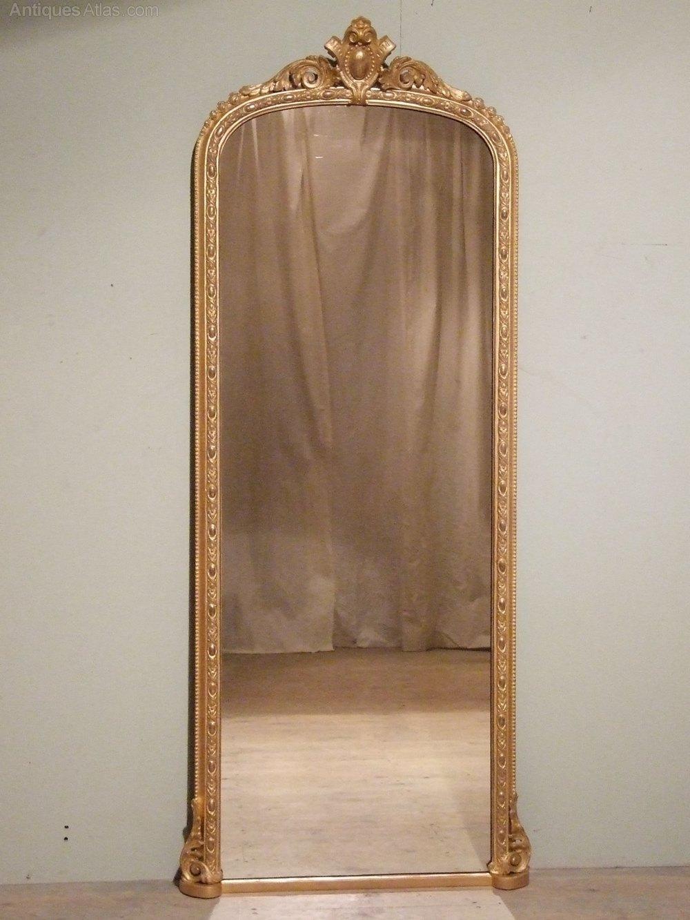 Antique Gilt Full Length Mirror