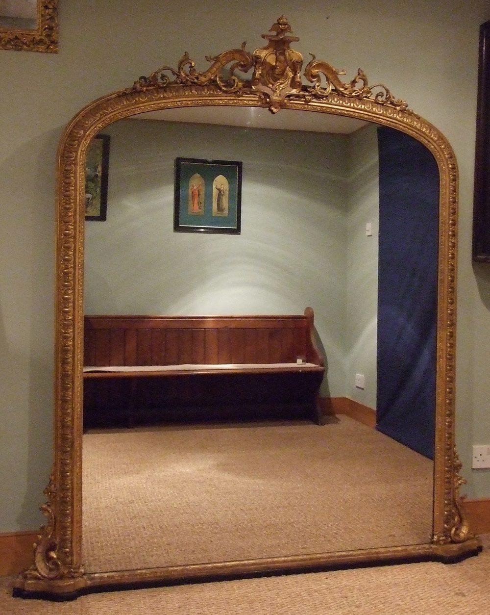 Large English Antique Gilt Overmantle Mirror C1850