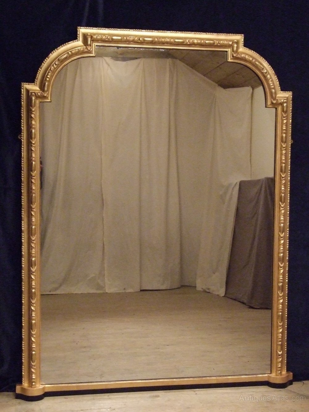 Antique Gilt Overmantle Mirror 6ft Tall