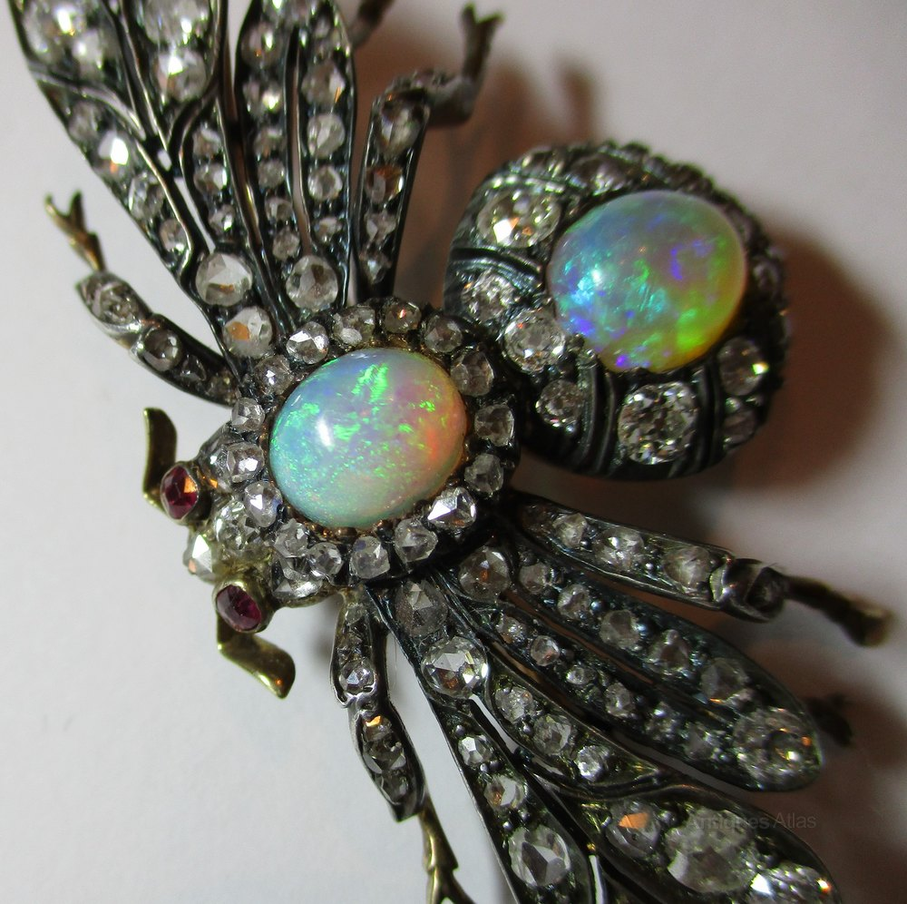 gem kingfisher multi black with and antique fish platinum opal brooch a diamond brooches