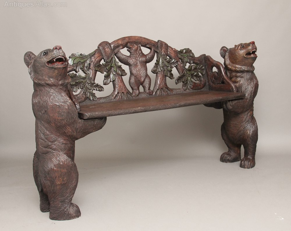 19th Century Black Forest Bear Hall Bench Antiques Atlas
