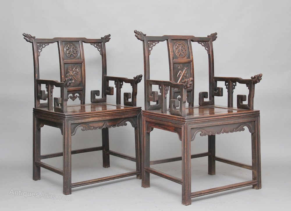 A Pair Of Mid 19th Century Carved Chinese Armchair ...