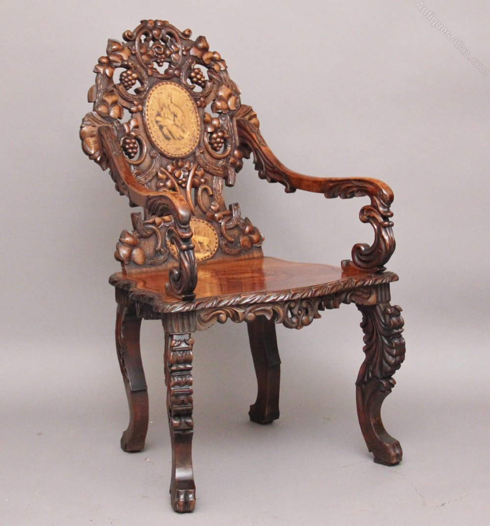 19th Century walnut black forest carved and inlaid chair Antique ... - 19th Century Walnut Black Forest Carved And Inlaid Chair - Antiques