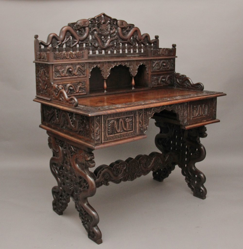 Chinese Carved Desk Antique ... - Chinese Carved Desk - Antiques Atlas