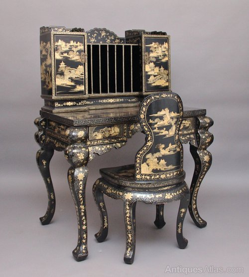Superb Oriental Desk And Chair Antiques Atlas Onthecornerstone Fun Painted Chair Ideas Images Onthecornerstoneorg