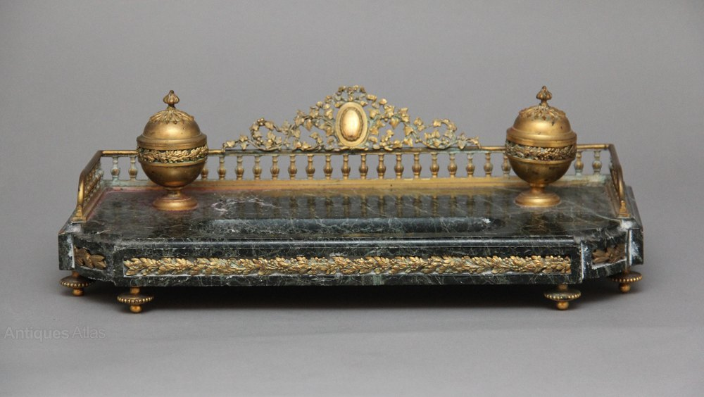 Ormolu And Marble Desk Set Antique Inkwells