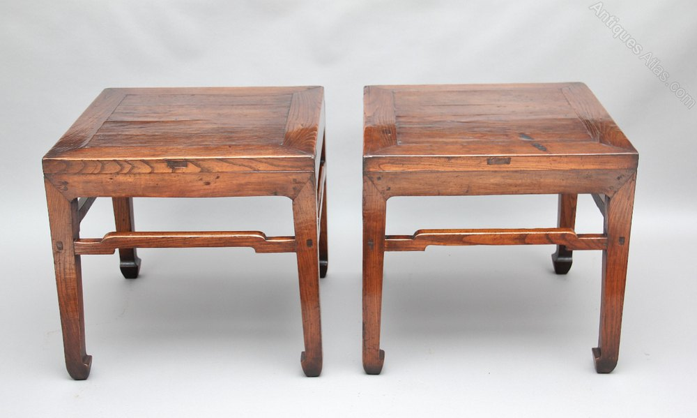 Merveilleux Pair Chinese Side Tables Antique Side Tables Chinese Side ...