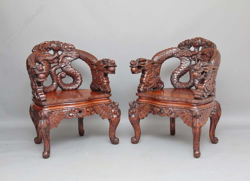 Pair carved chinese chairs antiques atlas