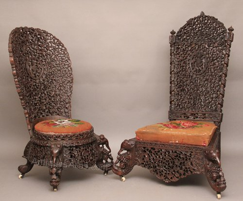 - Pair Carved Chairs - Antiques Atlas