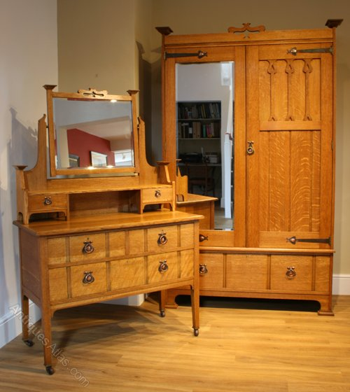 An Arts & Crafts Oak Wardrobe And Dressing Table - Antiques ...
