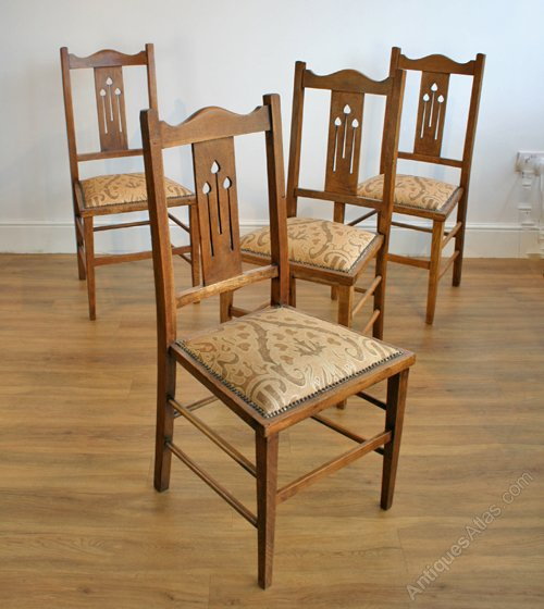 Four Arts Crafts Oak Dining Chairs Antiques Atlas