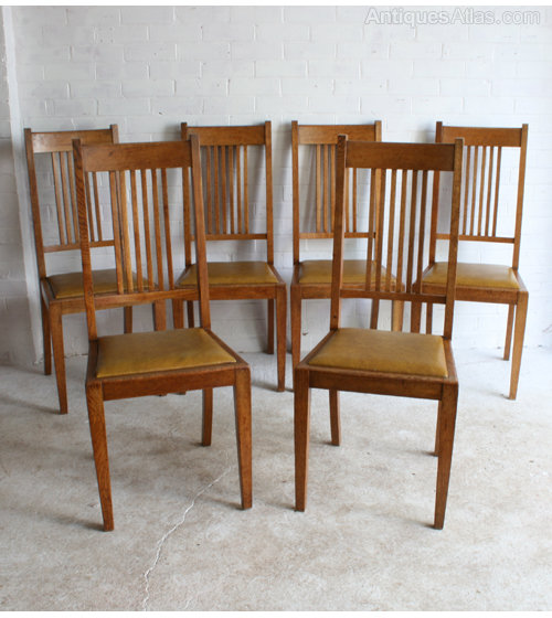 Six Arts Crafts Oak Dining Chairs