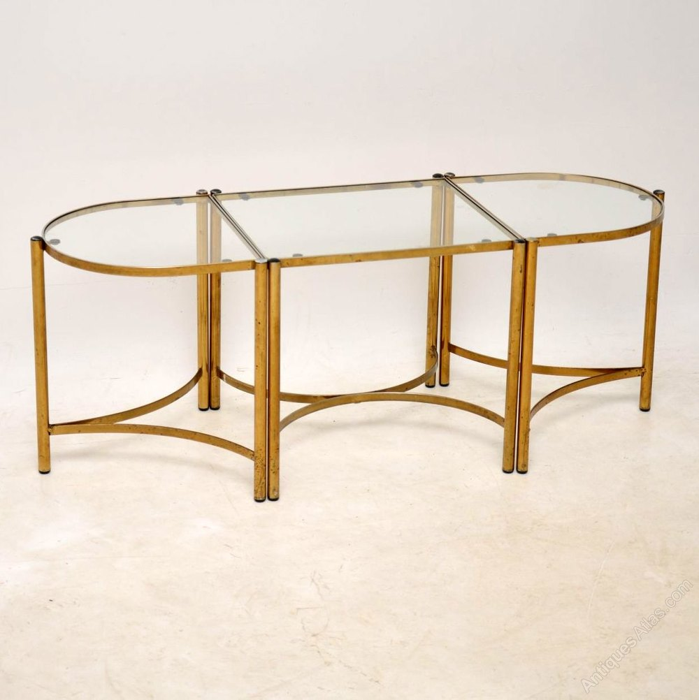 1960 S Vintage Brass Coffee Table Side Tables