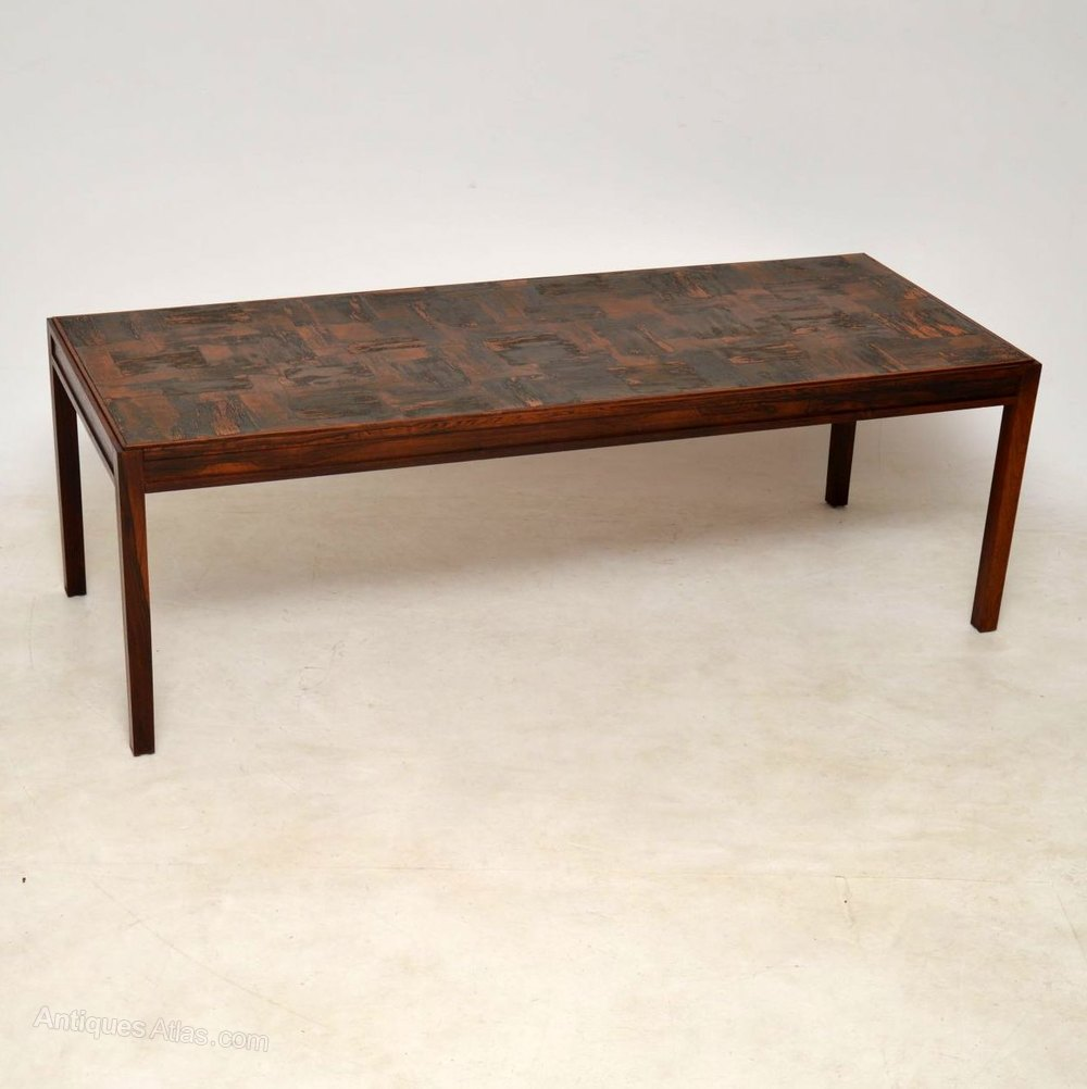 Copper And Wood Coffee Table: 1960's Vintage Danish Wood & Copper
