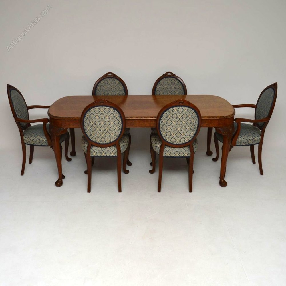 antique burr walnut dining table six chairs antiques atlas. Black Bedroom Furniture Sets. Home Design Ideas