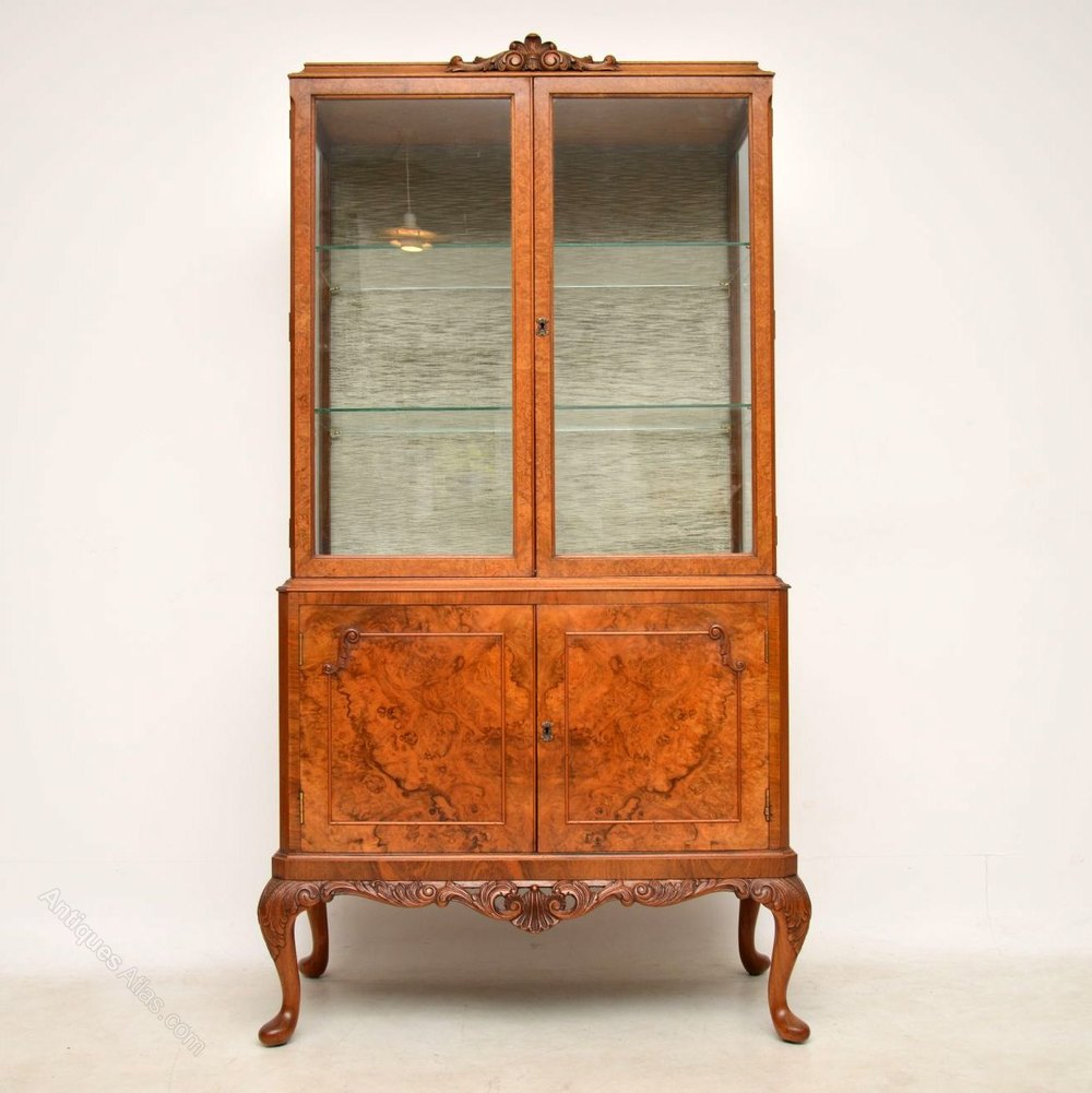 Antique Burr Walnut Display Cabinet Cabinets