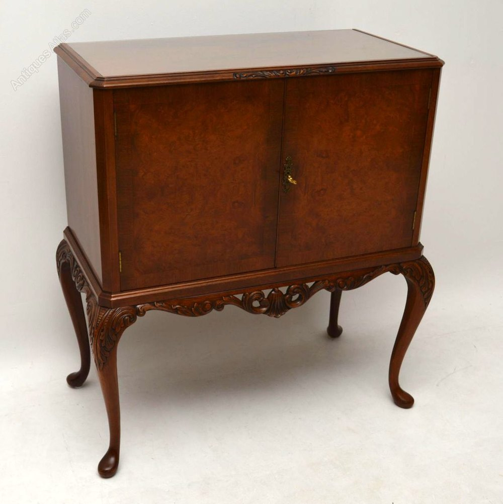 Antique Burr Walnut Drinks Cabinet ... - Antique Burr Walnut Drinks Cabinet - Antiques Atlas