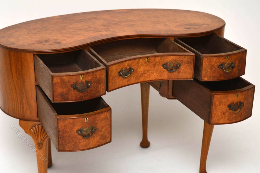 Antique Burr Walnut Kidney Shaped Desk Dresser Desks Bean