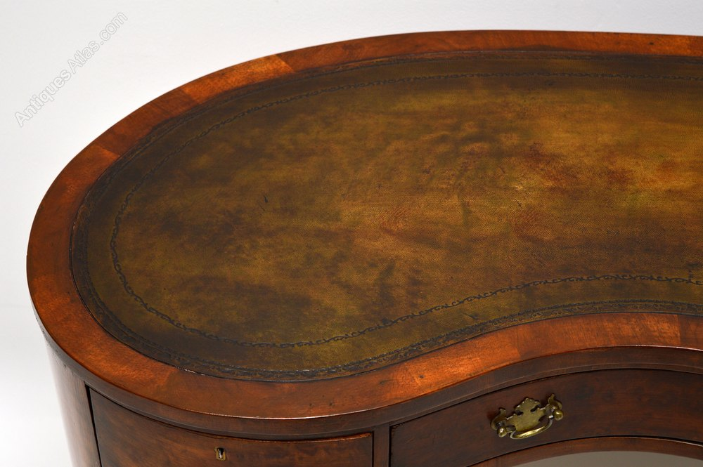 Antique Burr Walnut Leather Top Kidney Shaped Desk Antique Desks London  Writing Tables ... - Antique Burr Walnut Leather Top Kidney Shaped Desk - Antiques Atlas