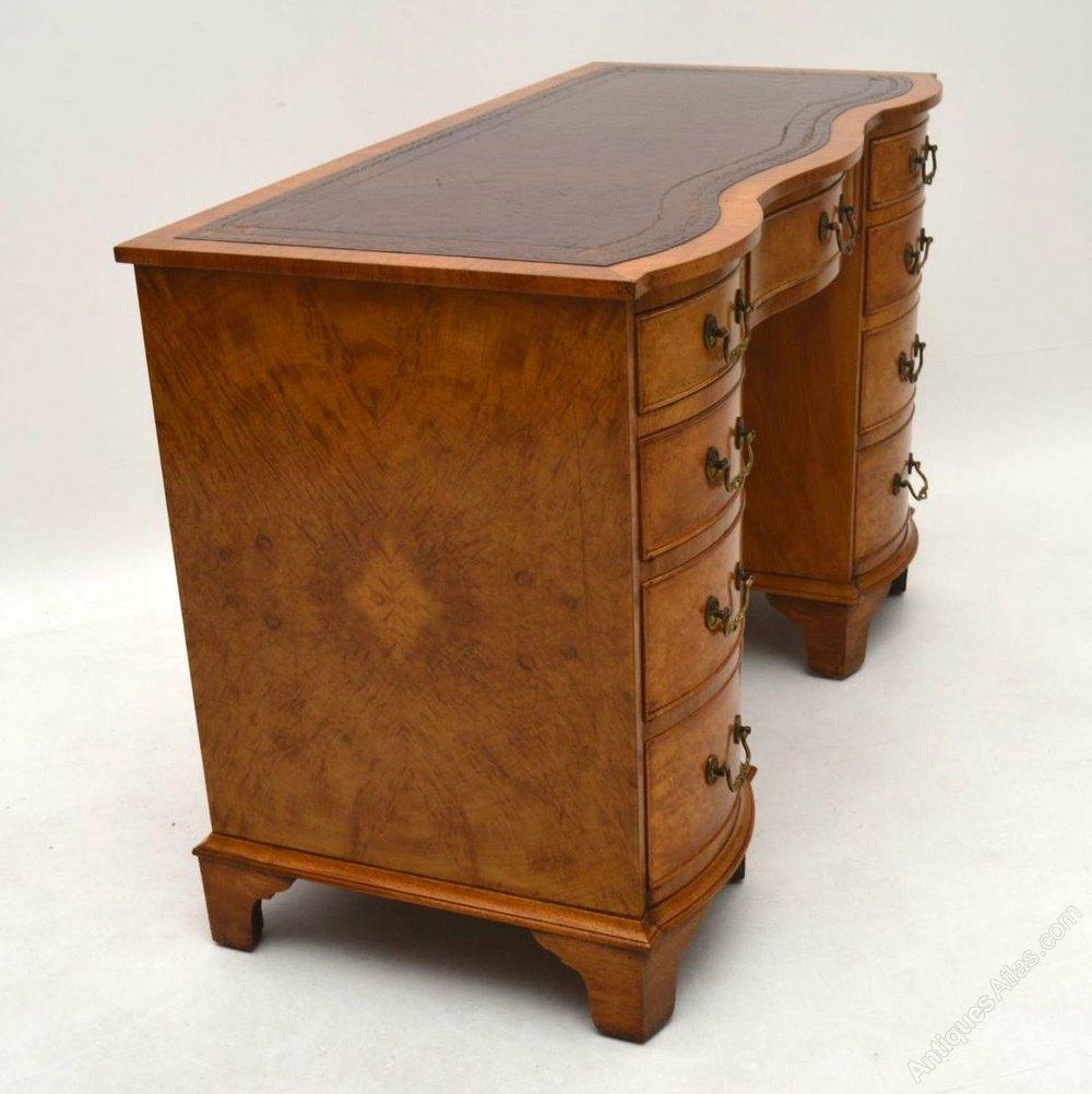 Antique Burr Walnut Leather Top Desk Antique Desks English Antique Burr ... - Antique Burr Walnut Leather Top Desk - Antiques Atlas