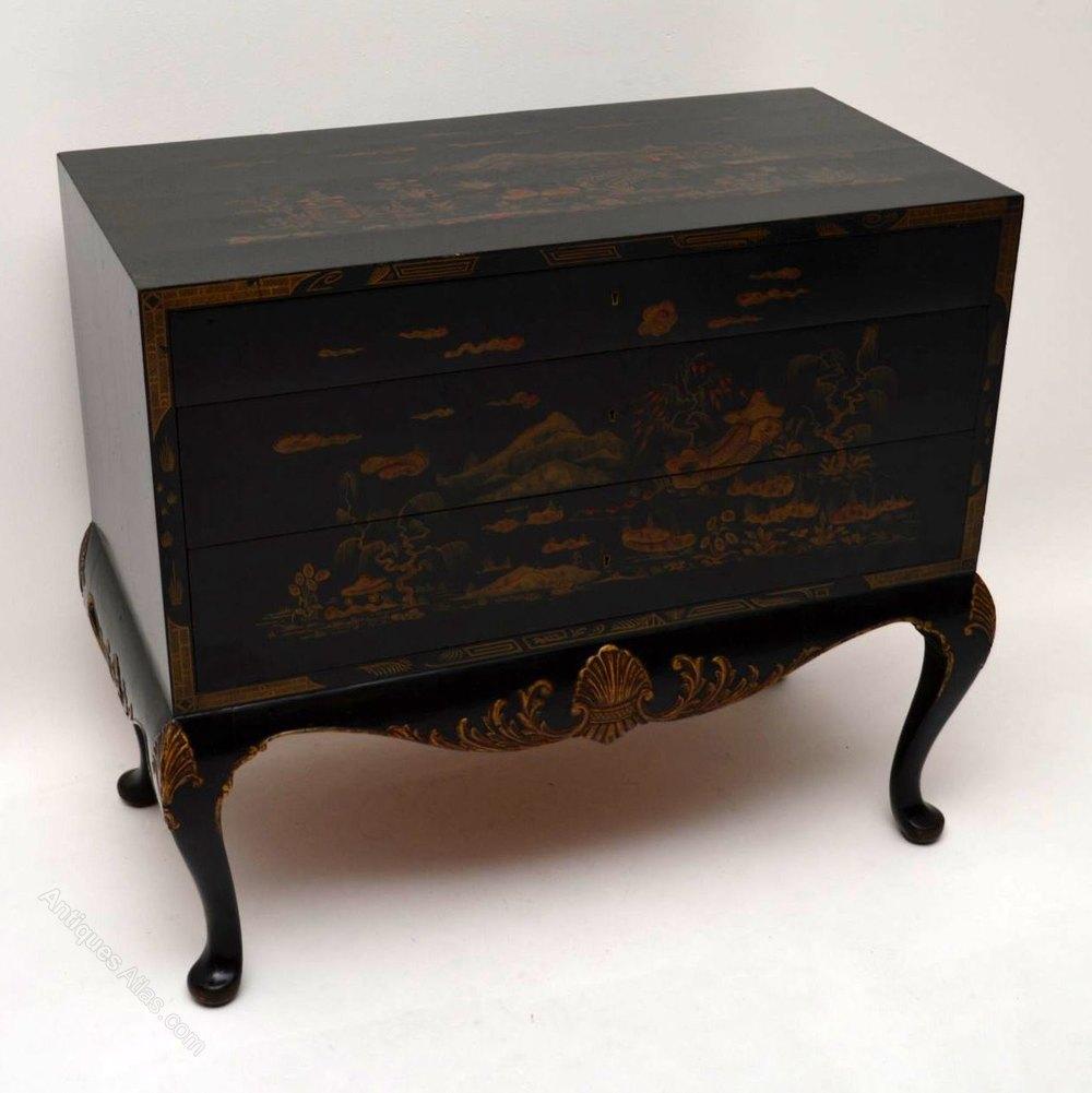 Antique Chinoiserie Ebonised Gilt Commode