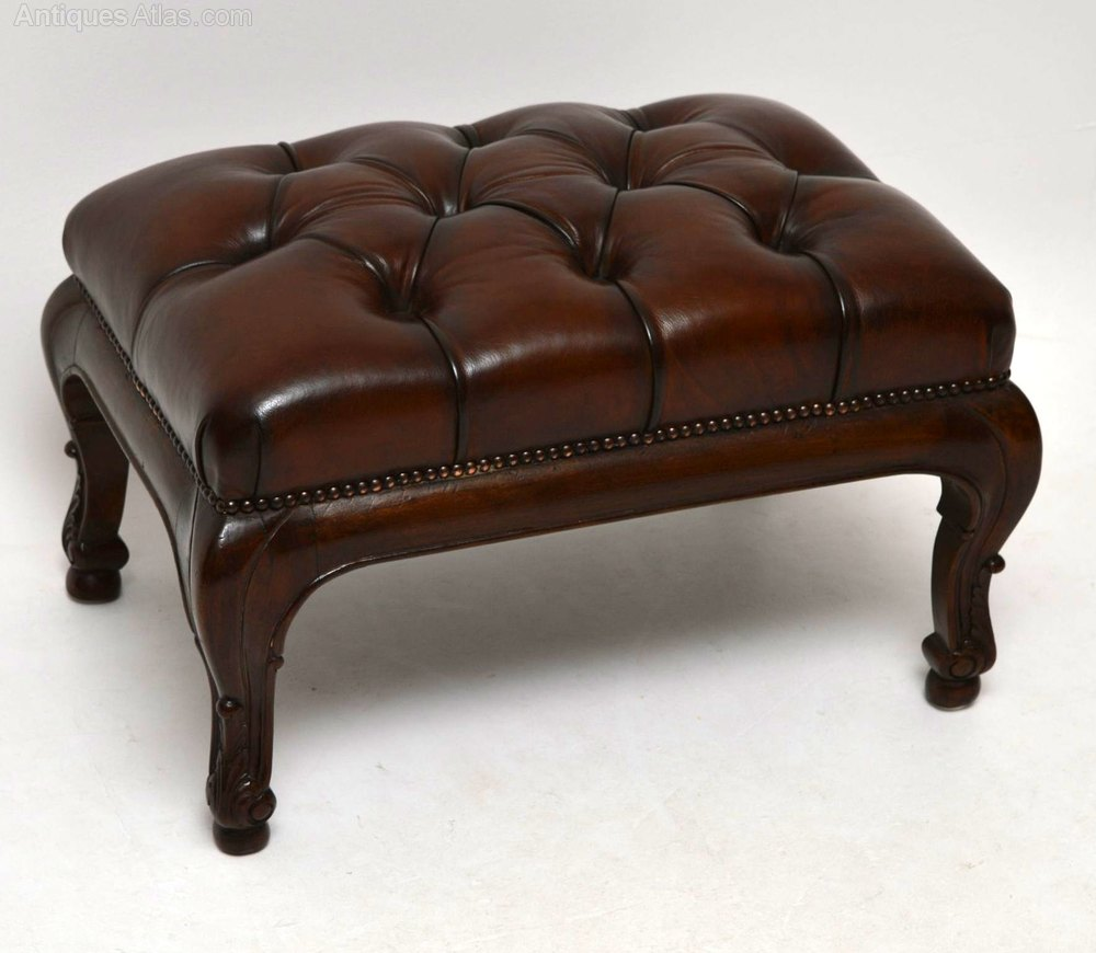 vintage leather footstool antique buttoned leather foot stool antiques atlas 3235