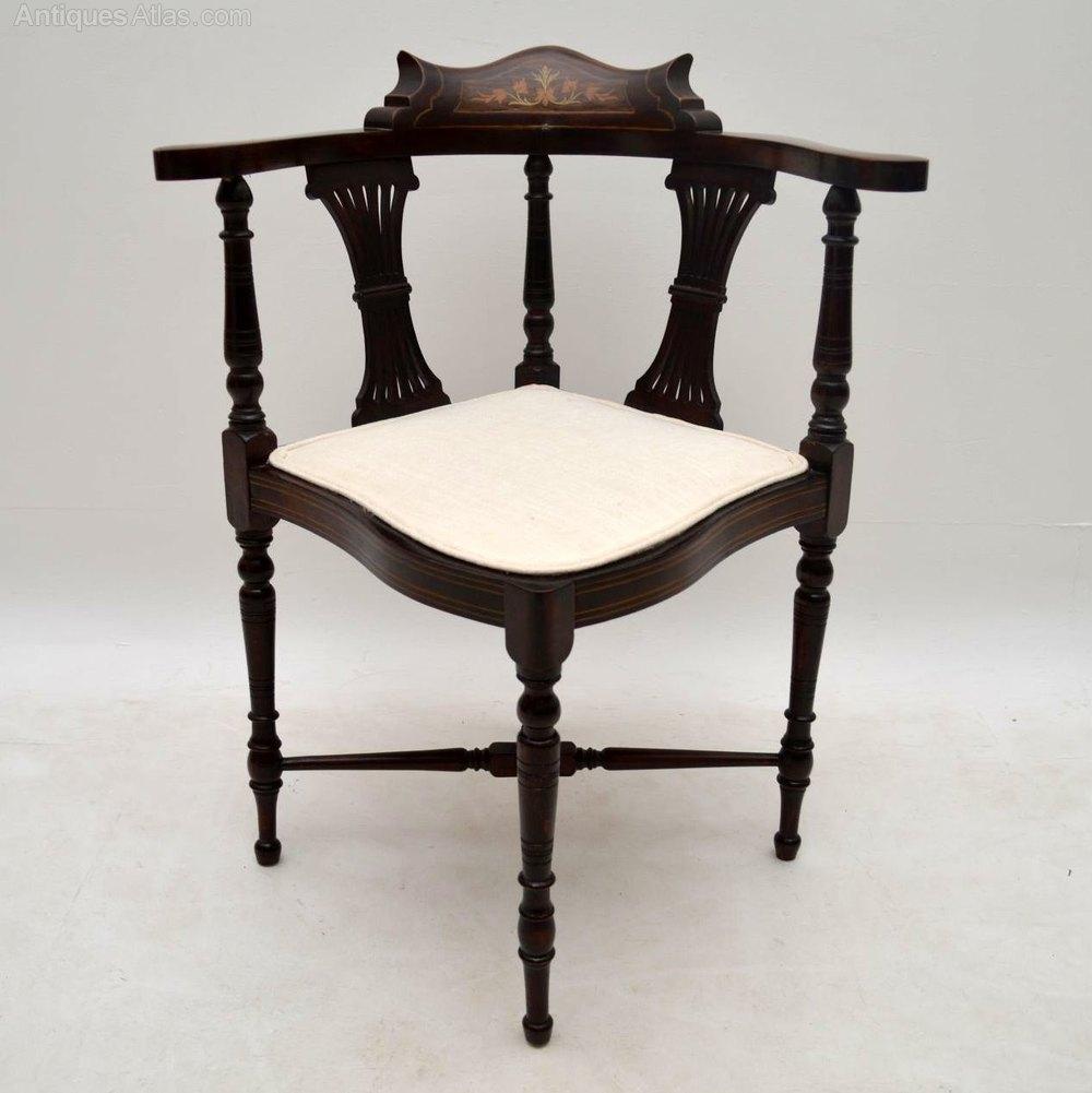 antique edwardian inlaid mahogany corner chair antiques