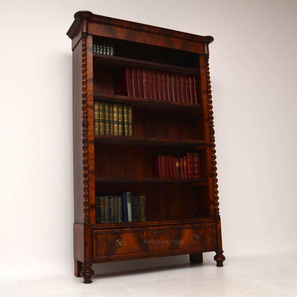 Antique Flame Mahogany Open Bookcase - Antiques Atlas