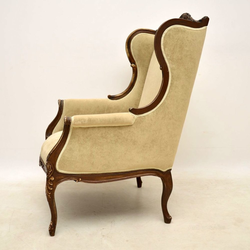 Antique French Distressed Painted Wing Armchair Antiques