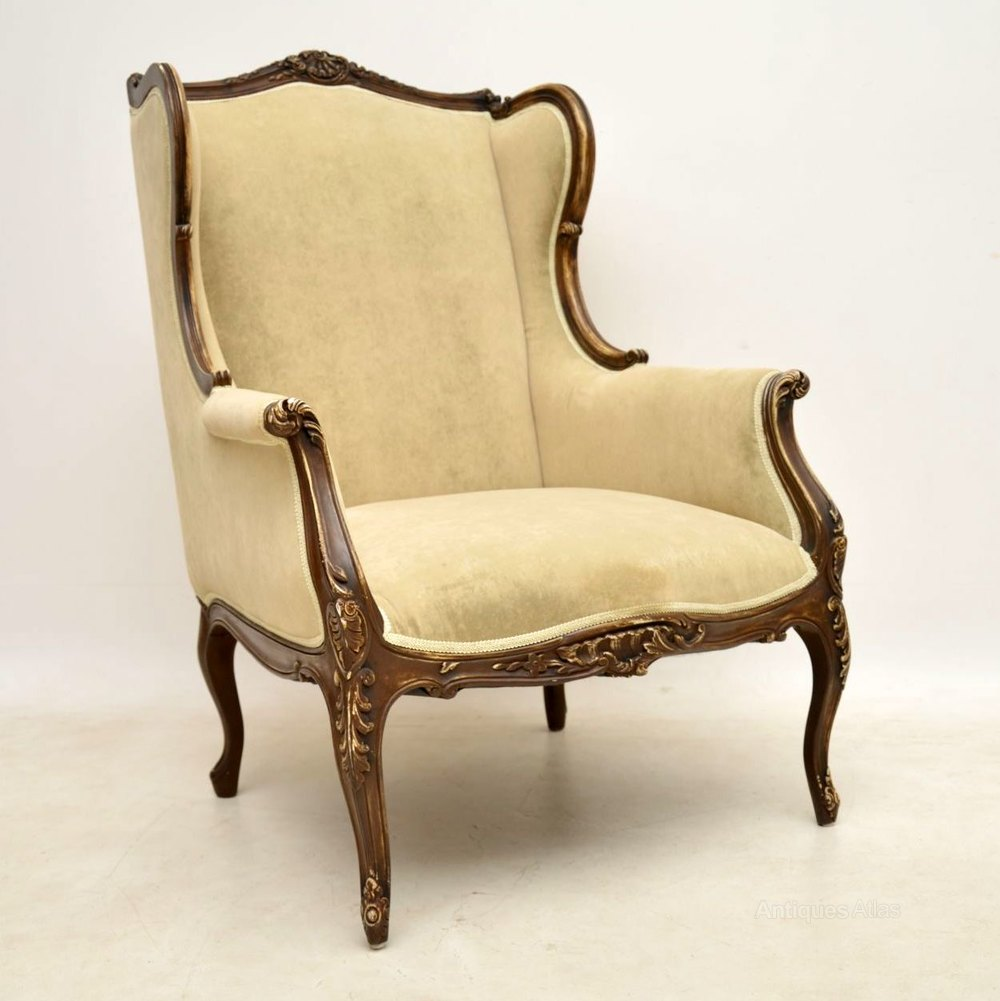 Antique French Distressed Painted Wing Armchair - Antiques ...