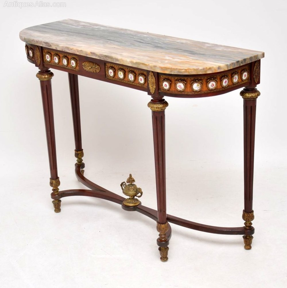 Antique French Marble Top Console Side