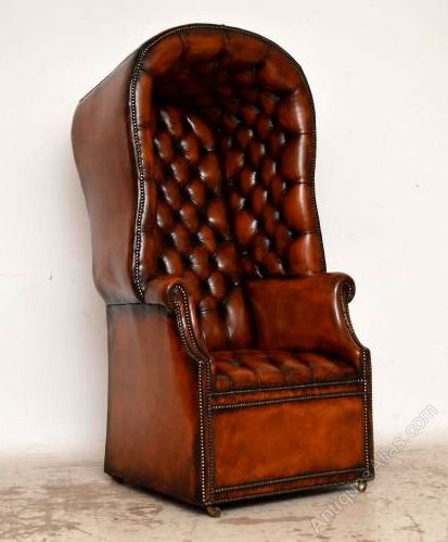 Antique Deep Buttoned Leather Porters Armchair ...