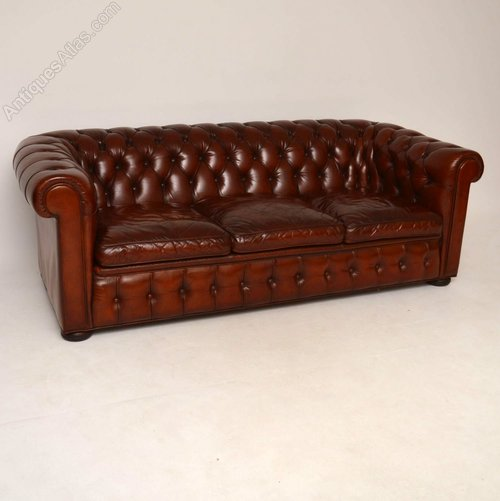 Antique Leather 3 Seater Chesterfield Sofa - Antiques Atlas