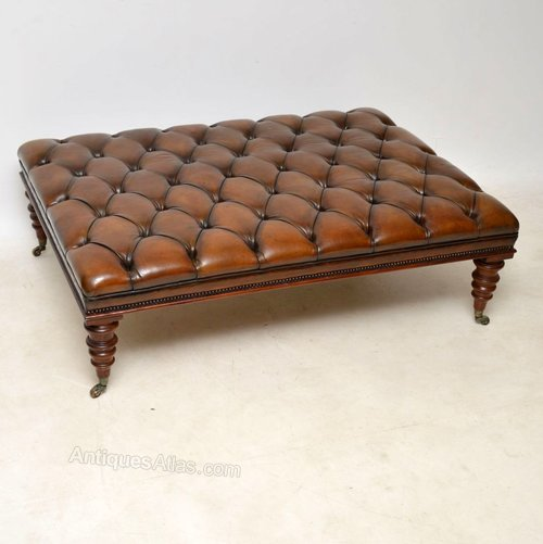 Brilliant Antique Leather Deep Buttoned Stool Pdpeps Interior Chair Design Pdpepsorg