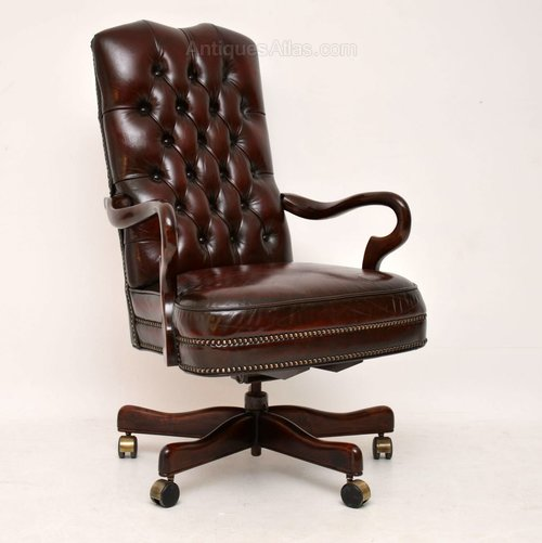 Awesome Antique Leather Mahogany Swivel Desk Chair Pabps2019 Chair Design Images Pabps2019Com