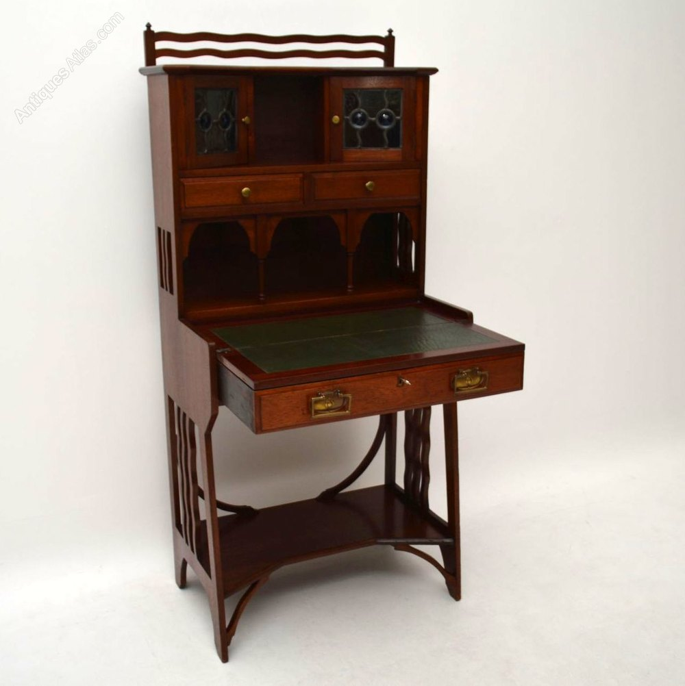 antique mahogany arts crafts writing bureau liberty antiques atlas. Black Bedroom Furniture Sets. Home Design Ideas