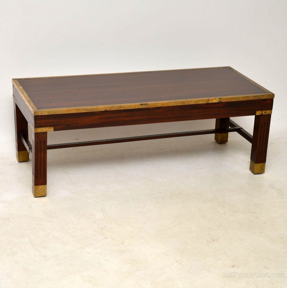 Antique mahogany brass coffee table antiques atlas Antique brass coffee table