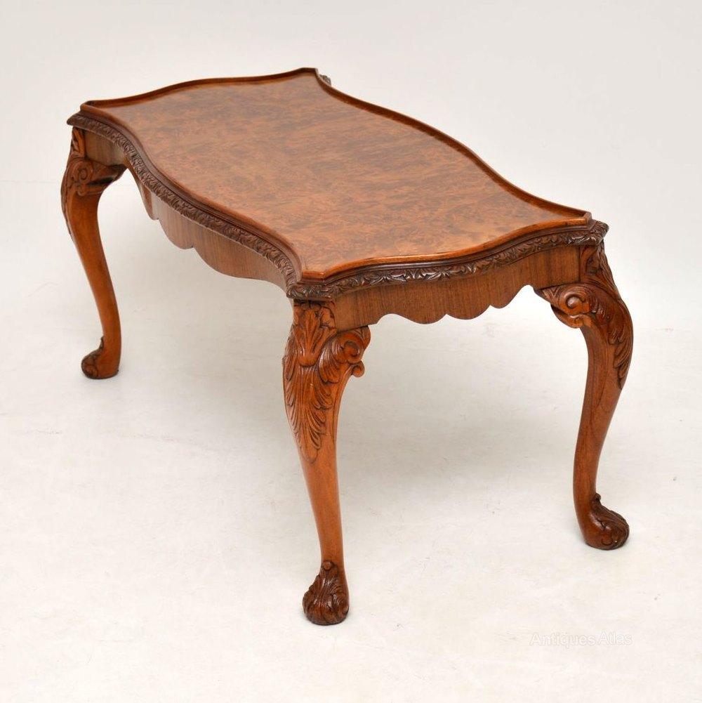 - Antique Queen Anne Style Burr Walnut Coffee Table - Antiques Atlas