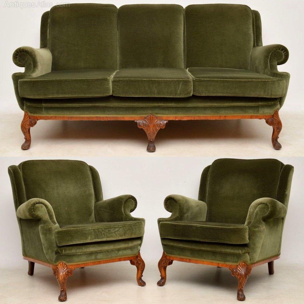 Antique Queen Anne Walnut Sofa & Armchairs Suite ...