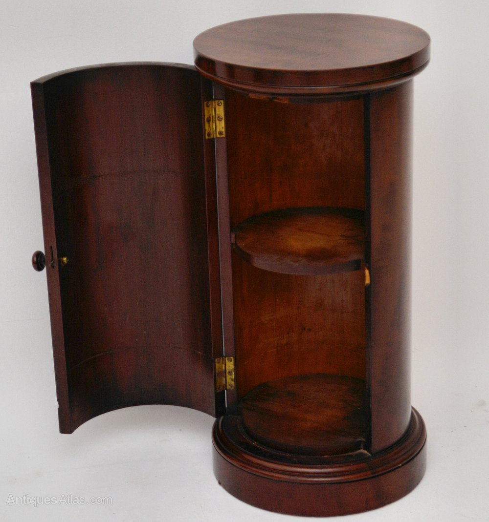 Antique Victorian Mahogany Round Pot Cupboard Bedside Cabinets