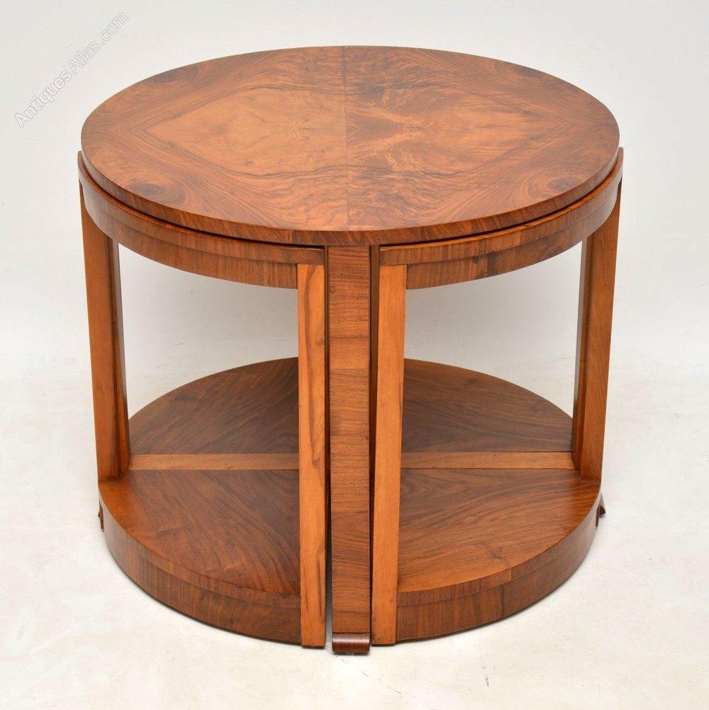 Art Deco Vintage Walnut Nesting Coffee Table Antiques Atlas