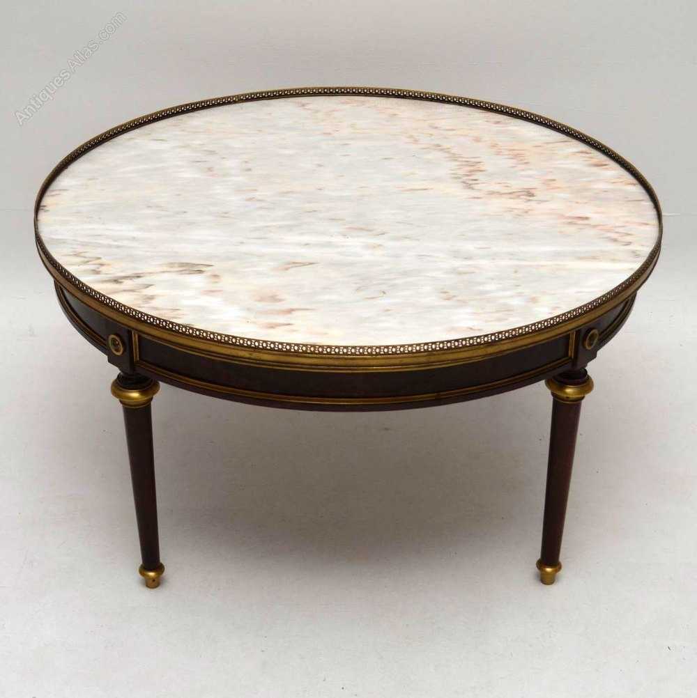 Large French Coffee Table: Large Antique French Marble Top Coffee Table