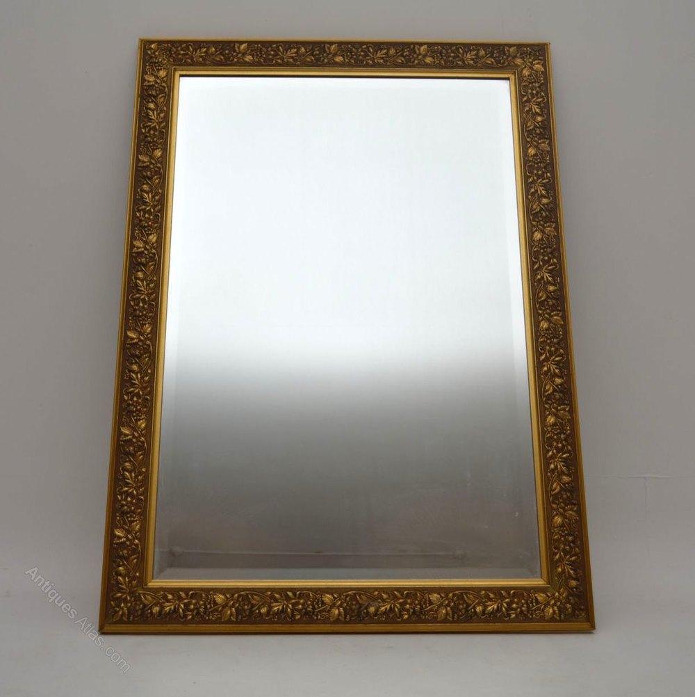 Antiques Atlas Large Antique Gilt Framed Bevelled Mirror