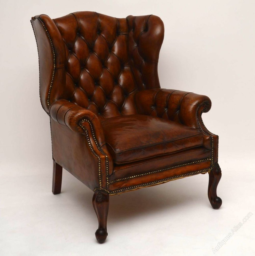 Large antique leather wing back armchair antiques atlas