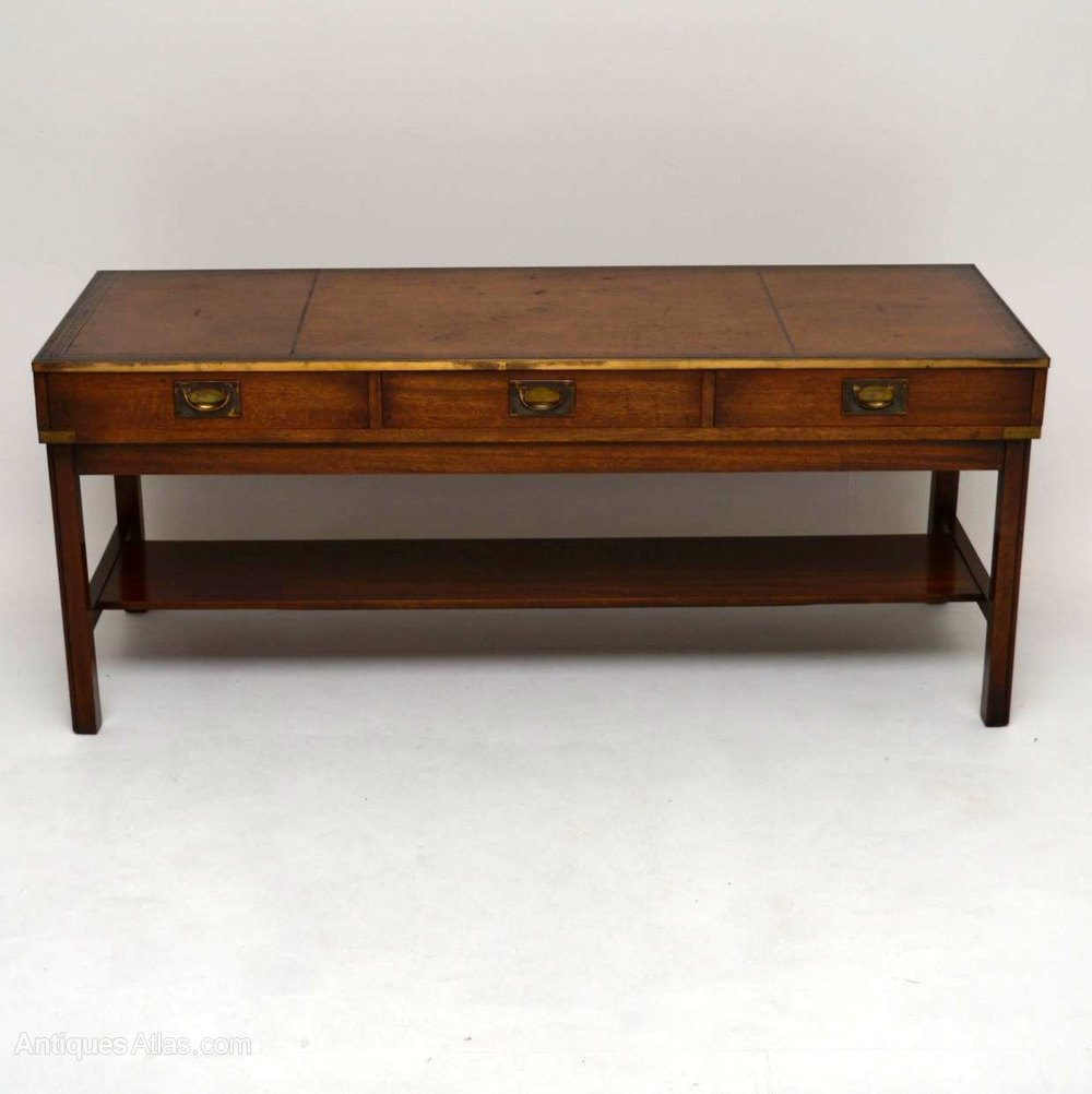 Large Campaign Style Mahogany Coffee Table Antiques Atlas