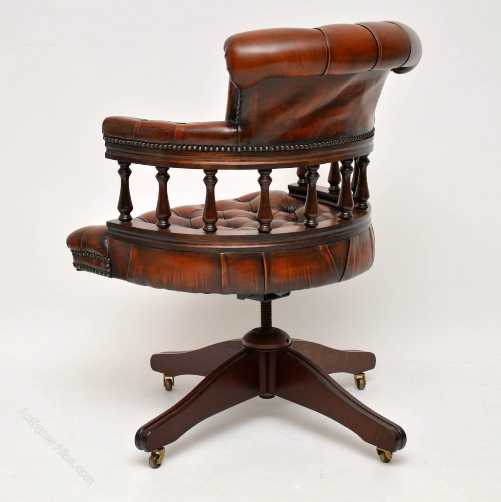 Terrific Antiques Atlas Mahogany Leather Captains Desk Chair Uwap Interior Chair Design Uwaporg