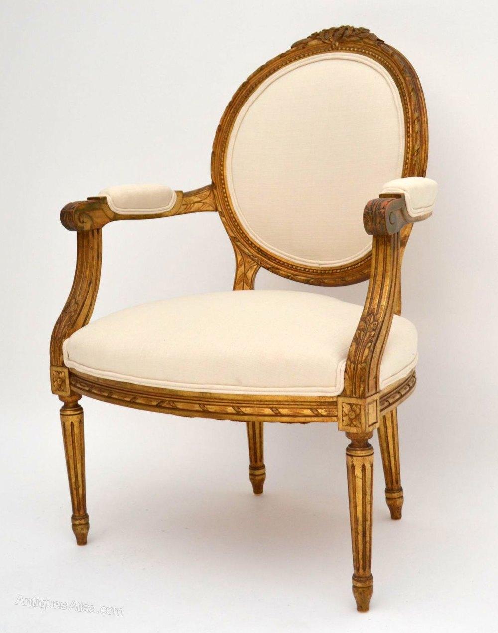... Antique Salon Chairs ... - Pair Of Antique French Gilt Wood Salon Armchairs - Antiques Atlas