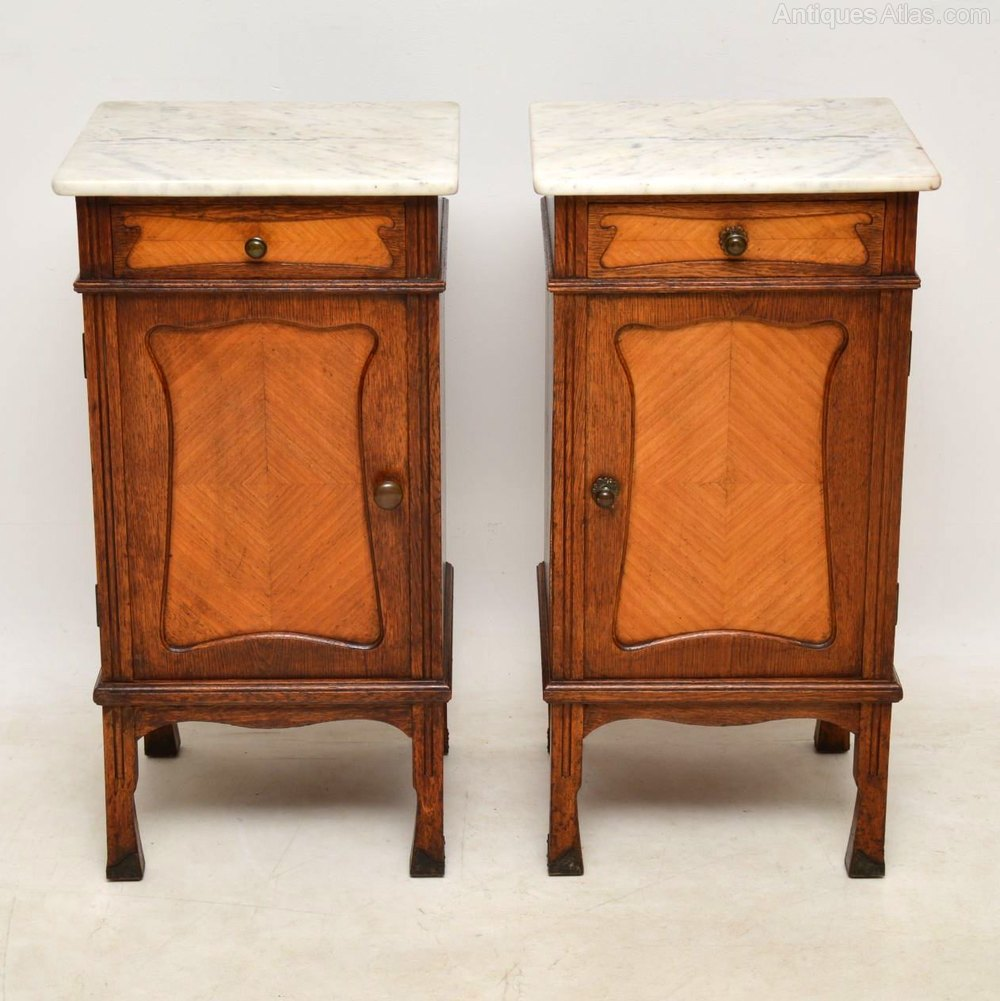 ... Antique Bedside Cabinets ... - Pair Of Antique French Marble Top Bedside Cabinet - Antiques Atlas