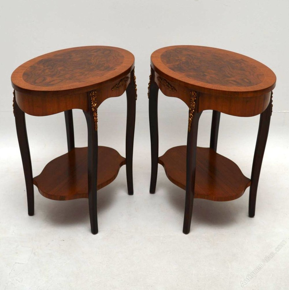 Pair of antique french walnut side or lamp tables for Side and lamp tables