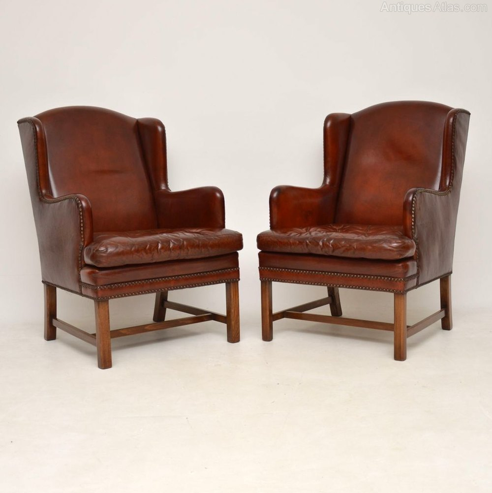 Pair Of Antique Swedish Leather Wing Back Armchair ...